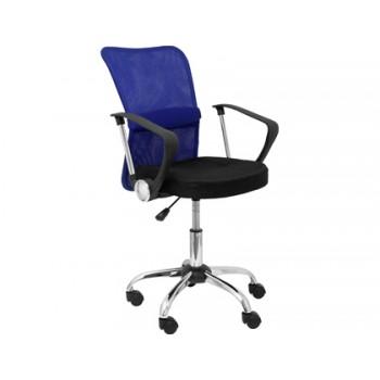 Cadeira de Escritório Giratória Encosto Médio Regulável Preta/Azul Q-Connect