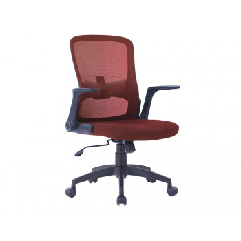 Cadeira de Escritório Giratória Regulável em Altura com Braços Tecido Vermelho
