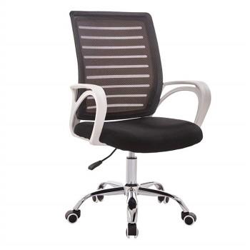 Cadeira de Escritório Giratória Sunset Branco Rede e Tecido Preta
