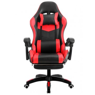 Cadeira de Escritório Sakhir Racing Apoio para Pés Pele Sintética Vermelha e Preta