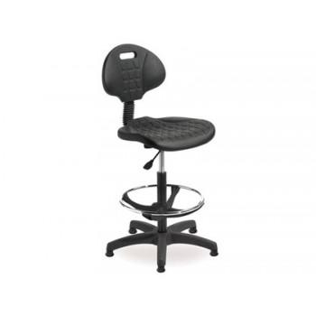 Cadeira Industrial Encosto Regulável em Altura Assento em Polimero com Tacos Preta Rocada