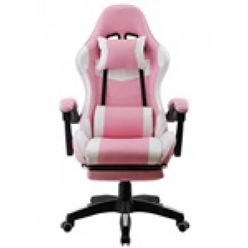 Cadeira de Escritório Sakhir Racing Apoio para Pés Pele Sintética Branca e Rosa