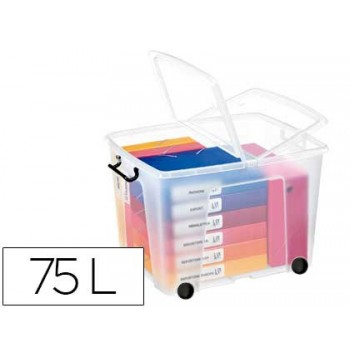 Caixa de Armazenagem em Plástico com rodas 75Litros Transparente