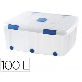 Caixa de Armazenagem Transparente com Rodas e Tampa 100 Litros