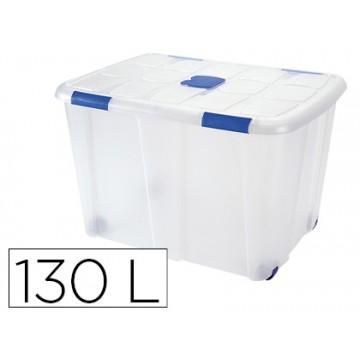 Caixa de Armazenagem Transparente com Rodas e Tampa 130 Litros