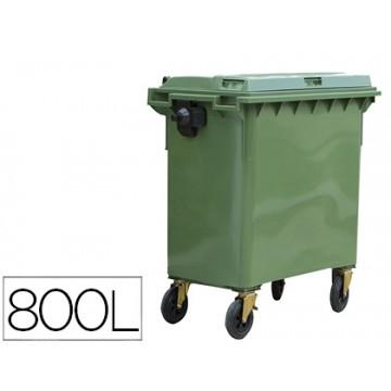 Contentor em Plástico com Tampa 800L 4 Rodas verde 1360x770x1269 mm