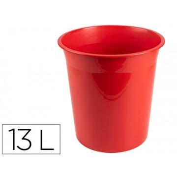 Cesto de Papéis em Plástico 13 Litros Opaco Vermelho
