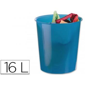 Cesto de Papéis em Plástico Translucido Azul