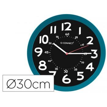Relógio de Parede Plástico Redondo Preto/Azul Q-Connect