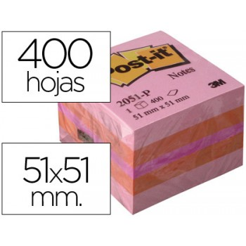 Bloco Notas Adesivo 51mmX51mm 400 Folhas Mini Cubo Rosa Post-It 2051P