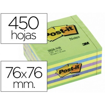 Bloco Notas Adesivo 76mmx76mm 450 Folhas Azul e Verde Post-It