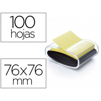 Dispensador Bloco Notas Adesivas Z Note Preto 1 bloco 76x76 mm Post-It