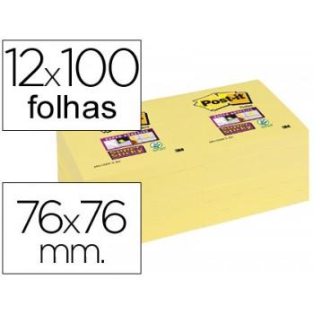 Bloco Notas Adesivo 76mmx76mm Amarelo 100 Folhas Post-It 12 Unidades
