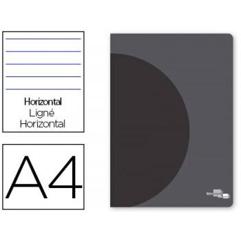 Caderno A4 48 Folhas 90gr Pautado Margem Dupla Capa de Plástico Capa Preta