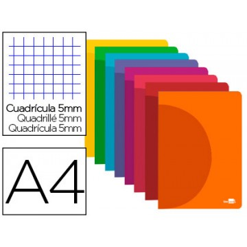Caderno A4 48 Folhas 90gr Quadriculado Capa de Plástico Cores Sortidas