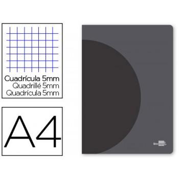 Caderno A4 48 Folhas 90gr Quadriculado Margem Dupla Capa de Plástico Capa Preta