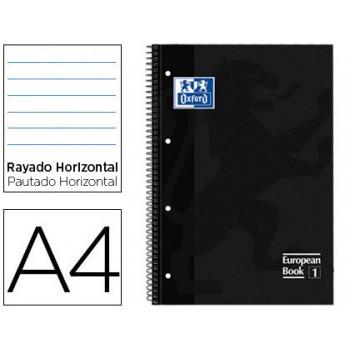 Caderno A4 Espiral Pautado Extradura Microperfurado 80 folhas Preto Oxford