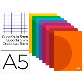 Caderno A5 48 Folhas 90gr Quadriculado Margem Capa de Plástico Cores Sortidas