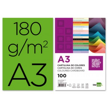 Cartolina A3 180Grs Verde 100 Unidades