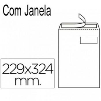 Envelope 229x324mm C4 Saco Branco Com janela 250 Unidades