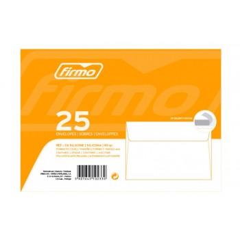Envelope 114x162mm Branco 90grs C6 Pack 25 Unidades