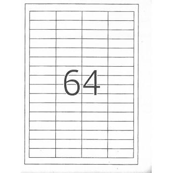 Etiquetas A4 48,3x16.9mm Autocolantes Brancas 100 Folhas