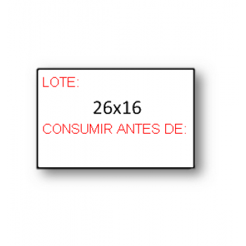 "Etiquetas de Rolo 26x16mm Pré-Impressa ""Lote Consumir Antes de"""