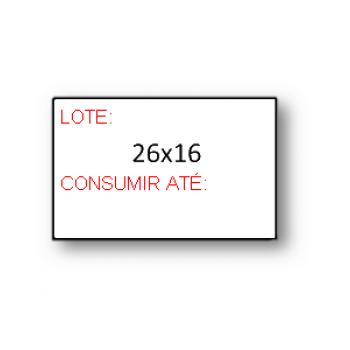 """Etiquetas de Rolo 26x16mm Pré-Impressa """"Lote Consumir Até"""""""