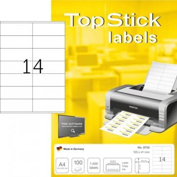 Etiquetas A4 105x42,3mm Autocolantes Brancas 100Folhas