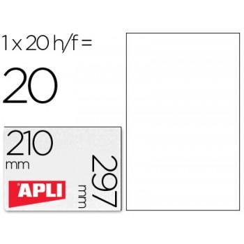 Etiquetas A4 210x297mm Permanente Poliéster Brancas 20 Folhas Apli