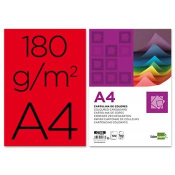 Cartolina A4 180Grs Vermelho 100 Unidades