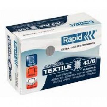 Agrafos 43/6mm caixa com 10000 Rapid Textile