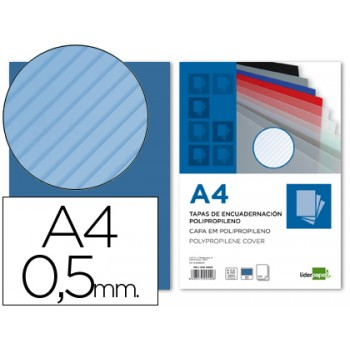 Capa De Encadernação A4 PP Raiada 500 Microns Azul 100 unidades