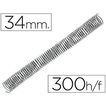 Espiral Metálica Passo 5:1 34 mm Preta (25 unidades)