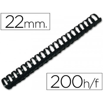 Espiral Plástica 22mm Preta (50 unidades)