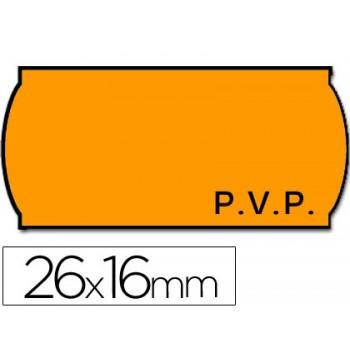 Etiquetas de Rolo 26x16mm P.V.P Com 1500 Onduladas Laranja Fluorescente