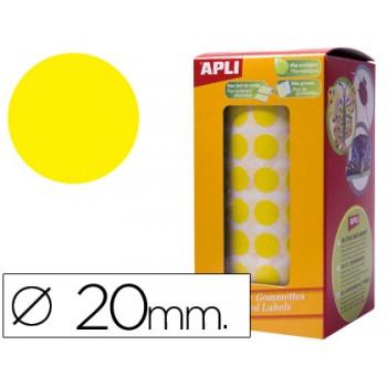 Etiquetas Auto Adesivas Circulares 20mm Amarelo Rolo