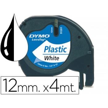 Fita DYMO letratag Plástica 12mmx4m Branco Pérola/Preto 91201