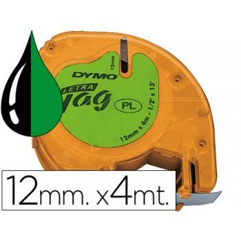 Fita DYMO letratag Plástica 12mmx4m Verde/Preto 91204