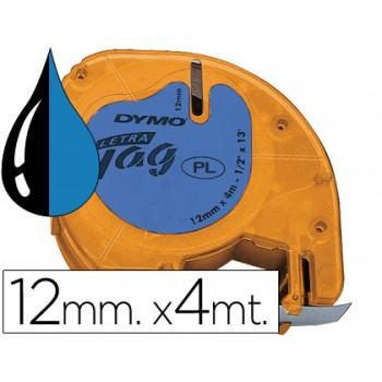 Fita DYMO letratag Plástica 12mmx4m Azul/Preta 91205