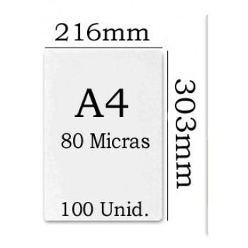 Bolsa Plastificação Térmica 216x303mm A4 80 microns - 100 unidades