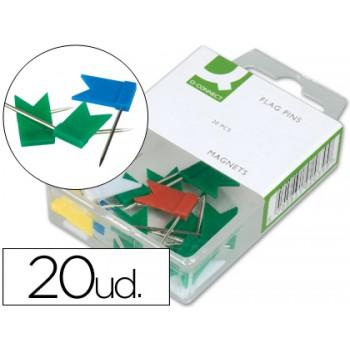 Alfinetes de Sinalização Bandeiras cores sortidas Caixa 20 Unidades