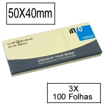 Bloco Notas Adesivo 40mmx50mm Amarelo 100 Folhas
