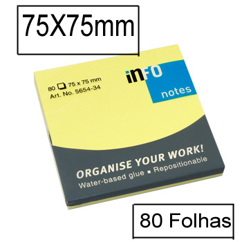 Bloco Notas Adesivo 75mmx75mm Amarelo Forte 80 Folhas