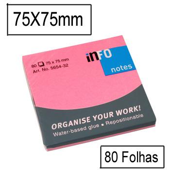 Bloco Notas Adesivo 75mmx75mm Rosa Forte 80 Folhas