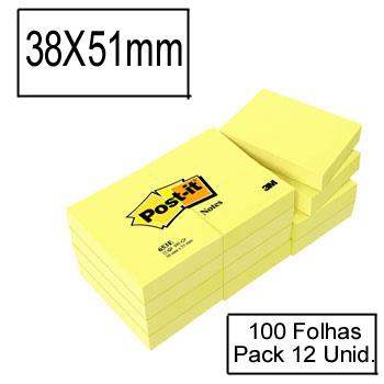 Bloco Notas Adesivo 38mmx51mm Amarelo 100 Folhas Post-It 653