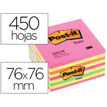 Bloco Notas Adesivo 76mmx76mm Rosa Neon 450 Folhas Post-It