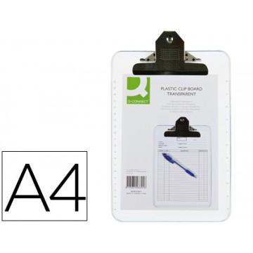 Porta Notas Prancheta Com Mola A4 Plástico Transparente Q-Connect