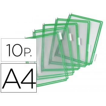 Bolsas recarga para porta catálogos A4 Verde -10 Unidades