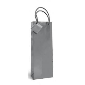 Saco de Papel com Asa Para Garrafa Prata 36x13x8,5cm 12 Unidades